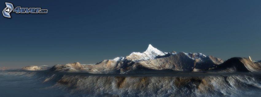 digitale Landschaft, Berge, Bergspitze