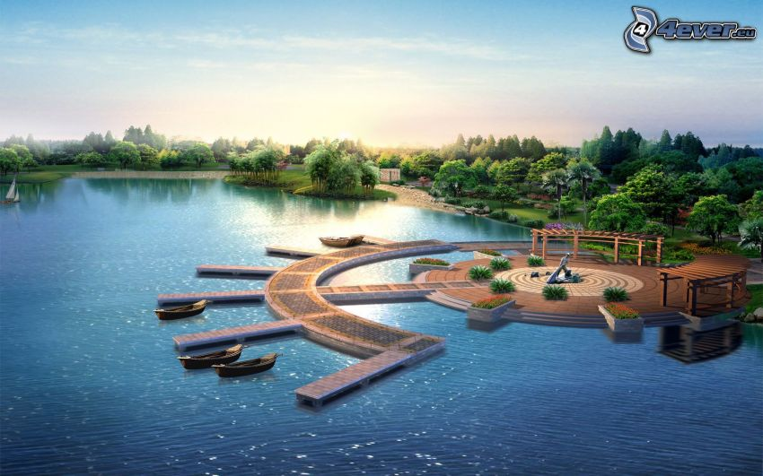 digitale Landschaft, Japan, Hafen, Boot, See