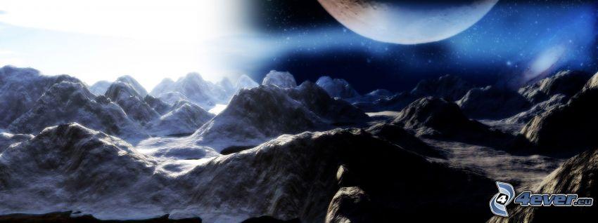 digitale Landschaft, Mond