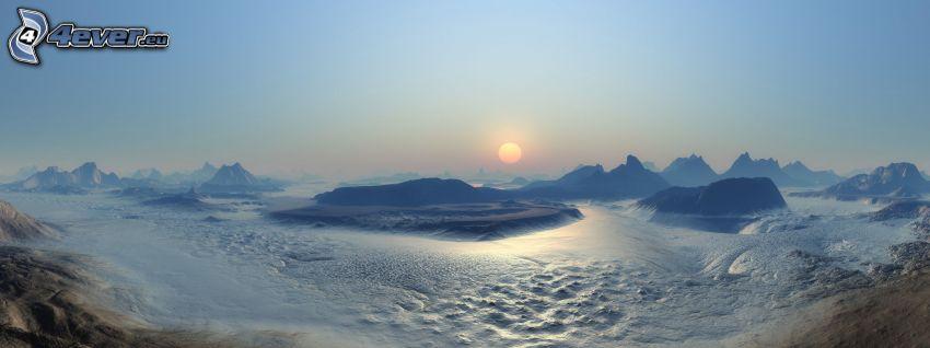 digitale Landschaft, Sonne