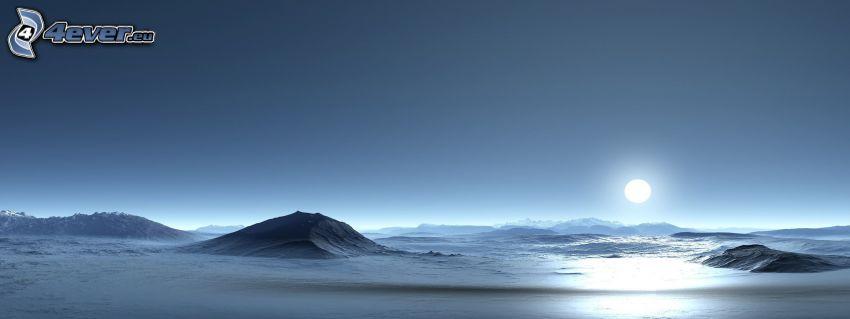digitale Landschaft, Sonnenuntergang