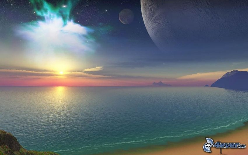 Digitale Wasserlandschaft, Meer, Sonne, Mond, Planeten