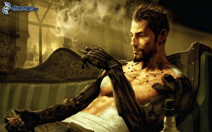 eingezeichneter Kerl, Sci-fi, Rauchen