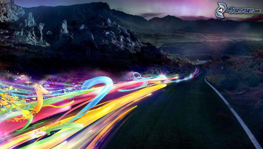 farbige Linien, Straße, Berge, Polarlicht