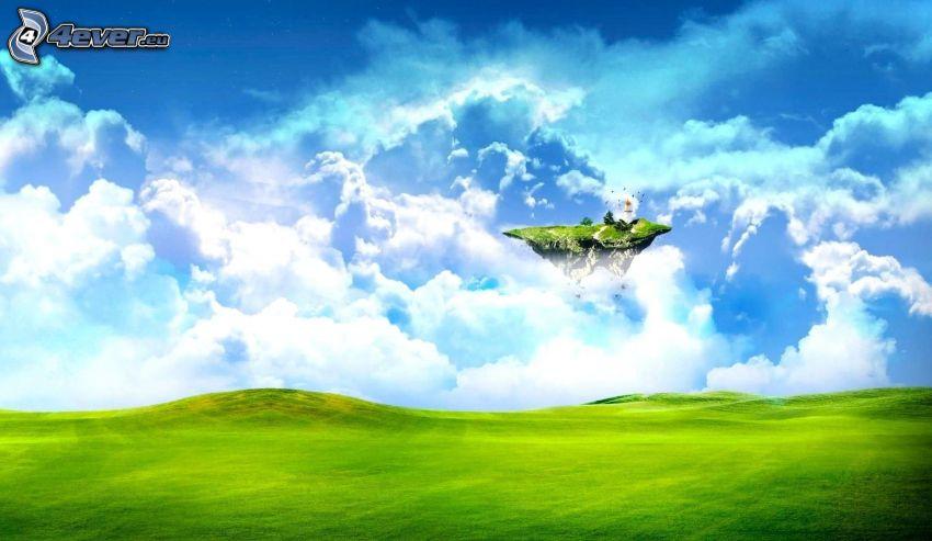 fliegende Insel, Wiese