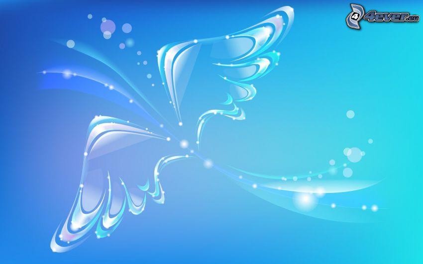 Flügel, blauer Hintergrund