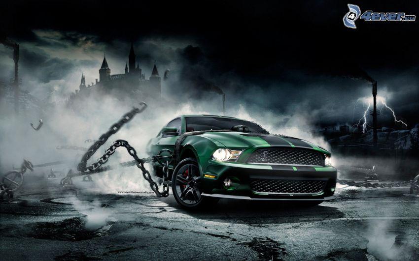 Ford Mustang, Ketten, Blitze, Burg