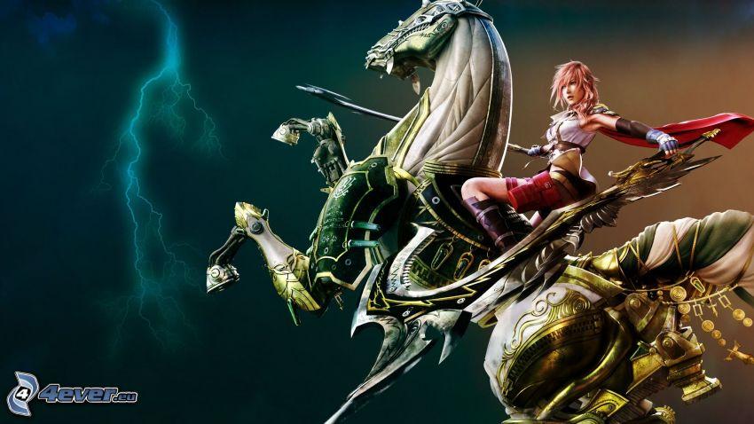 Frau auf dem Pferd, Kämpferin, Blitz