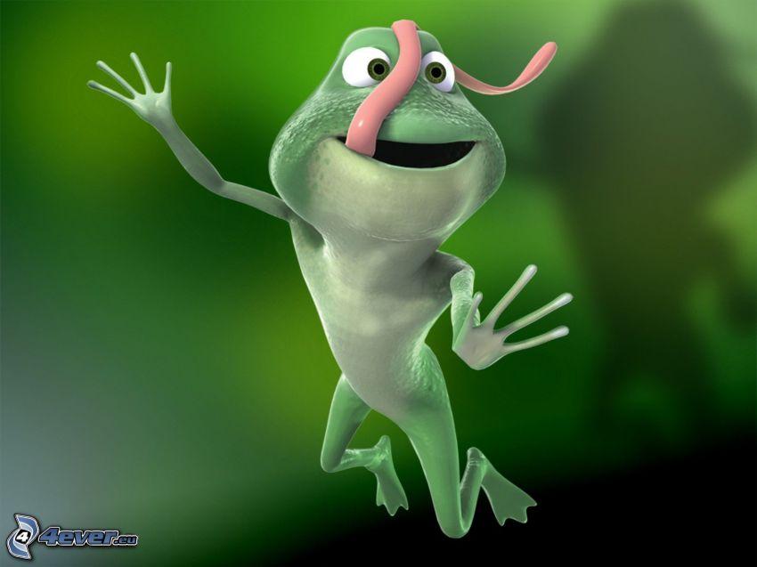 Frosch, lange Zunge