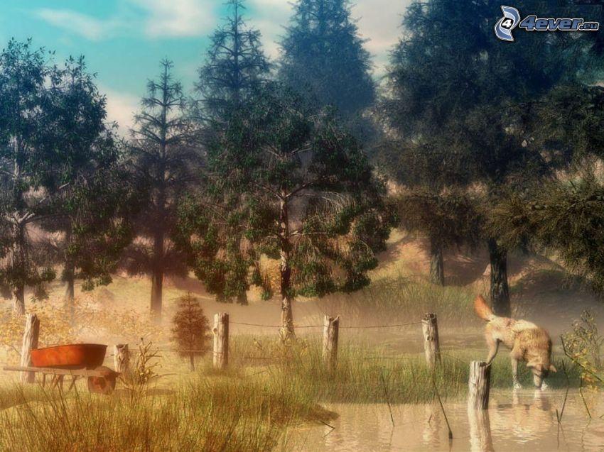 gezeichneter Wolf, Natur, Wasser, Wald, Schubkarre