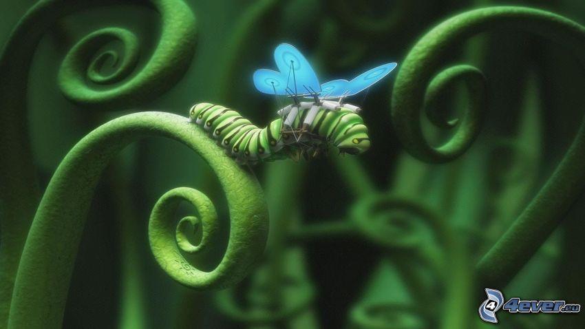 grüne Raupe, Flügel, Blatt