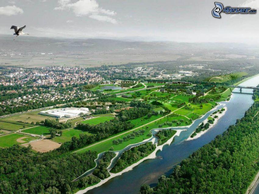 grüne Stadt, Fluss, Brücke, Storch, Wald