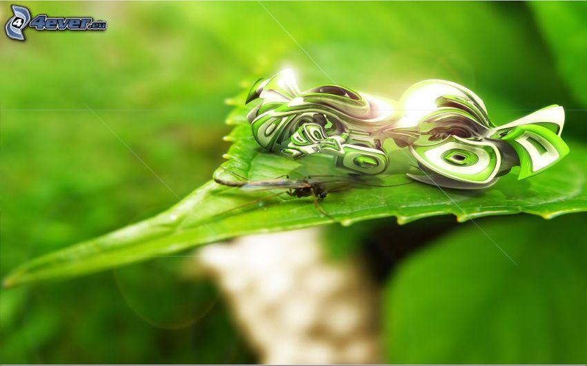 grünes Blatt, Insekten, abstrakte Form