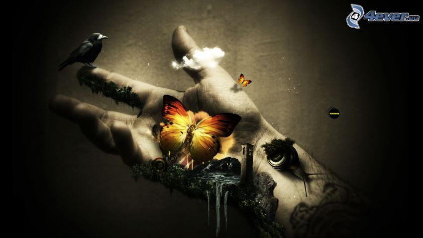 Hand, Schmetterling