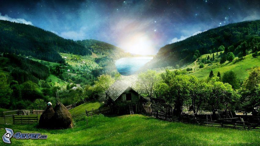 Hütte, Wiesen, Berge, Sonnenaufgang