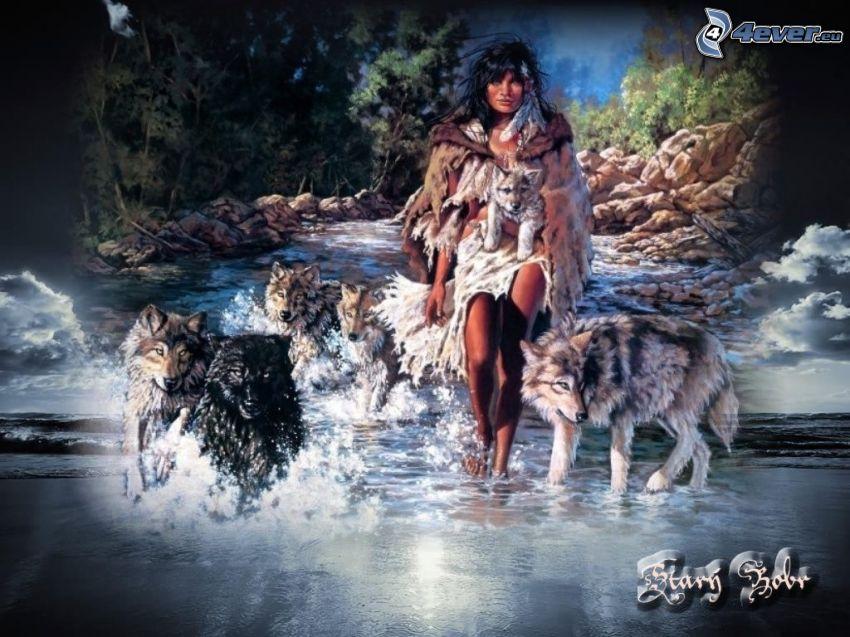 Indianerin, Wölfe, Bach, Wald