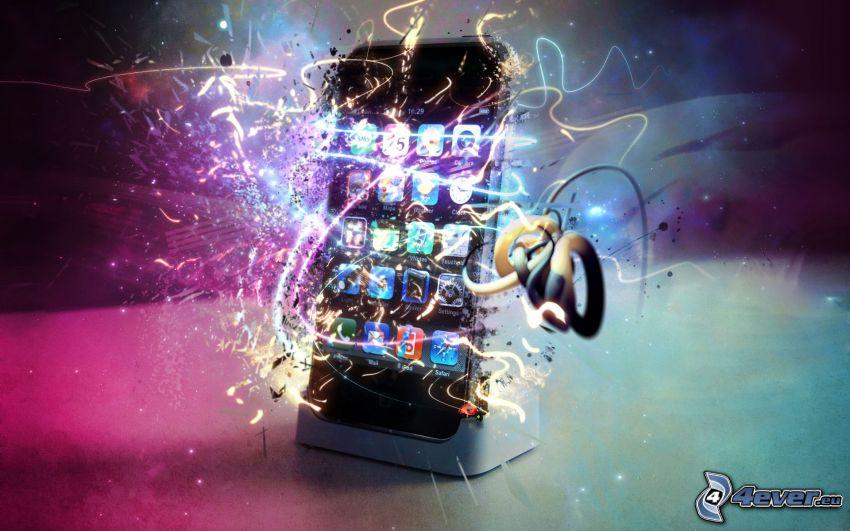 iPhone, Handy, weiße Linien