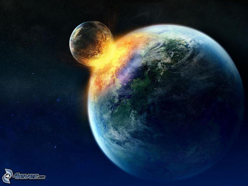 kosmischer Zusammenstoß, Erde, Mond