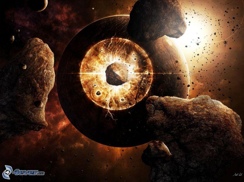 kosmischer Zusammenstoß, Planet, Asteroid, Meteorit