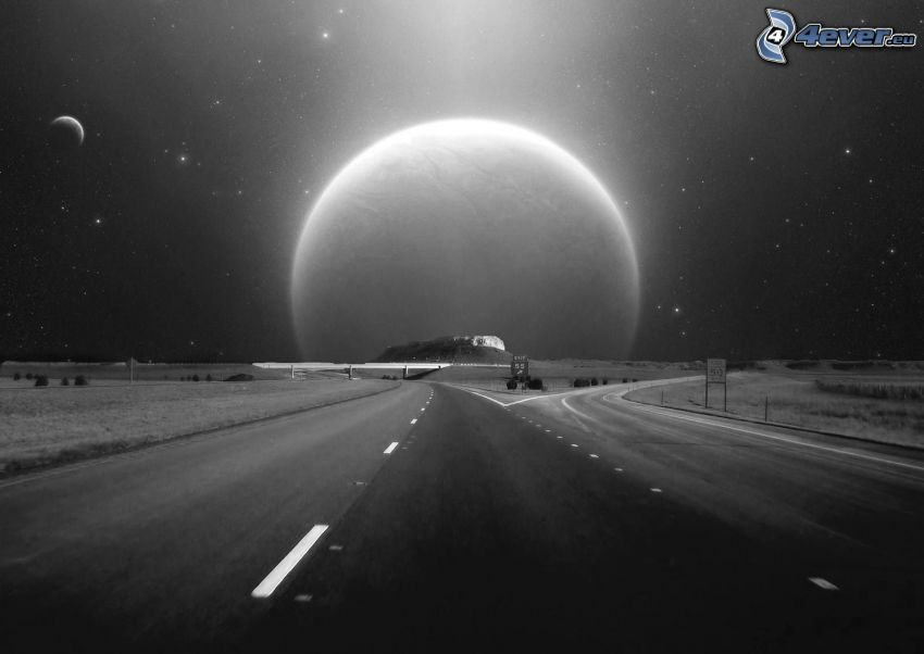 Kreuzung, Straße, Planet, schwarzweiß