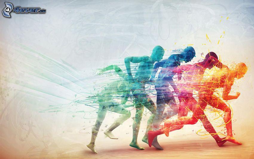 Laufen, Silhouetten von Menschen