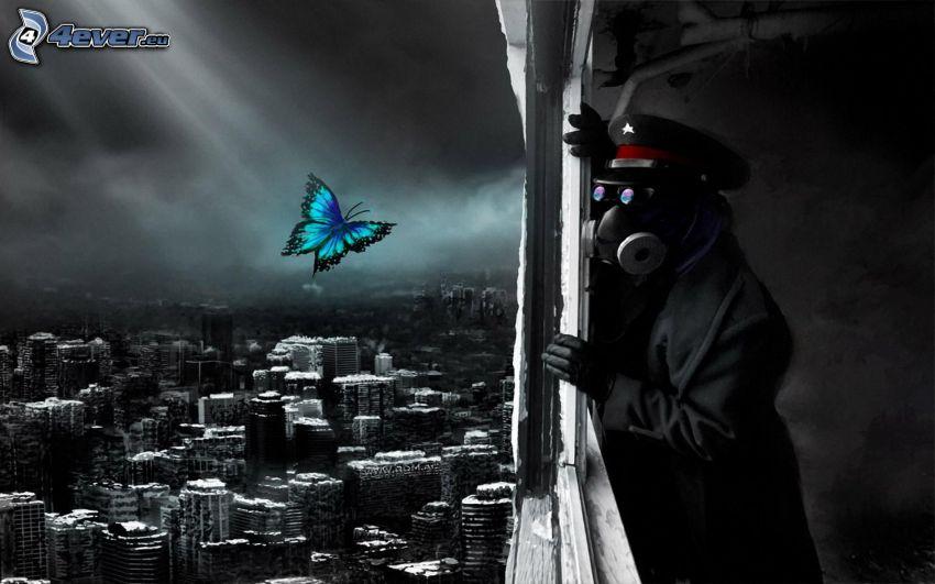 Mensch in der Gasmaske, Polizist, blauer Schmetterling, Blick auf die Stadt, postapokalyptische Stadt