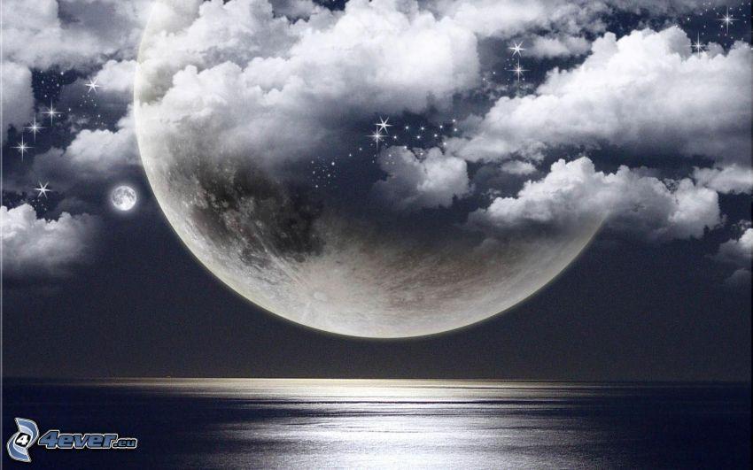 Mond, Wolken, Meer