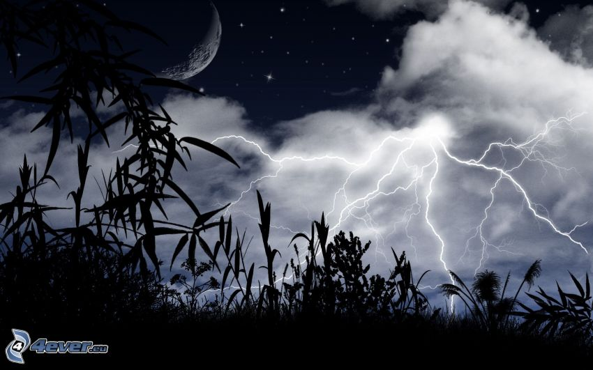 Nachthimmel, Blitze