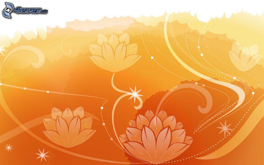 orange Blumen, orange Hintergrund