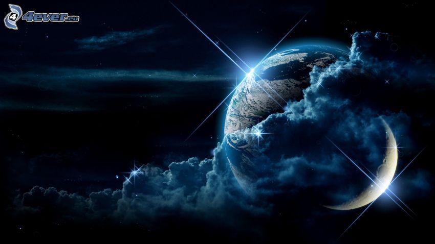 Planet, Mond, Erde, Wolken