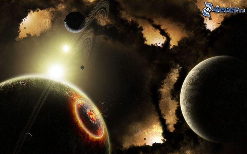 Planeten, kosmischer Zusammenstoß, Sonne