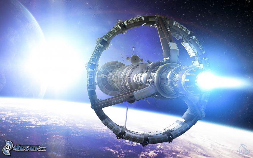 Raumschiff, Sci-fi, blaue Stern