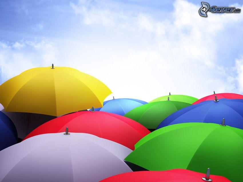 Regenschirme, farbige