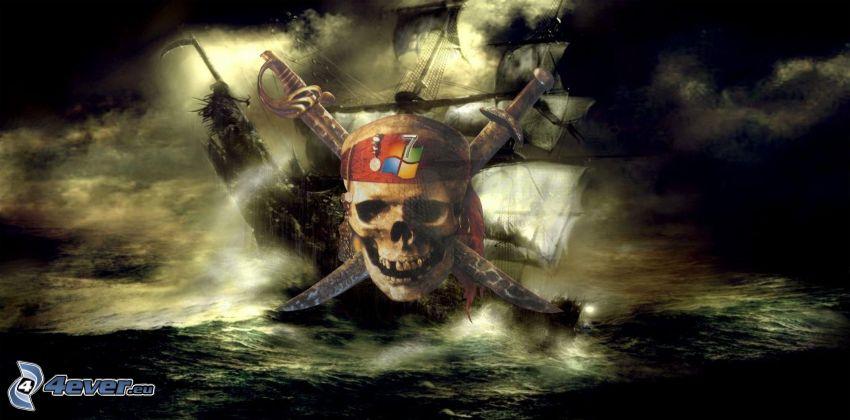 Schädel, Windows, Segelschiff, Gewitterwolken