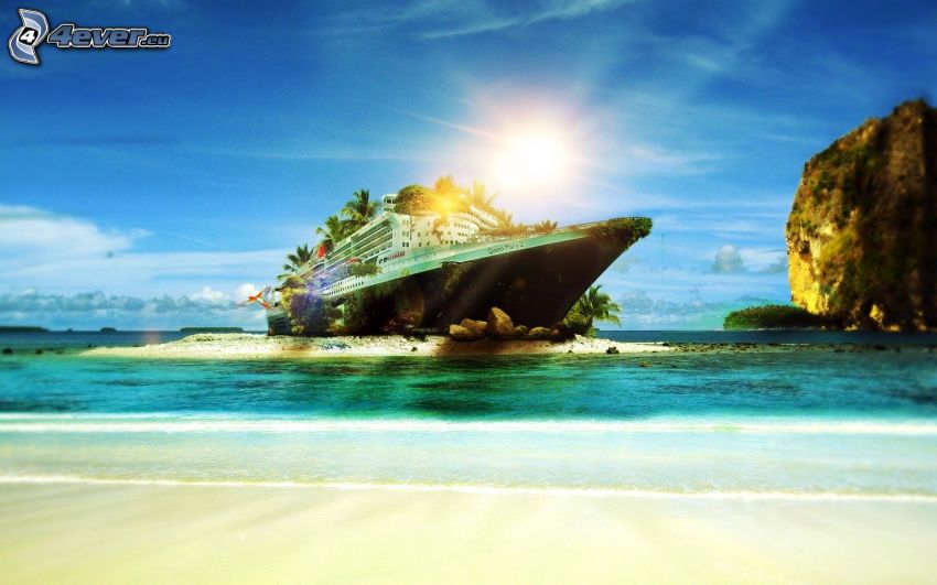 Schiff, Inselchen, Felsen im Meer, Sonne, Sandstrand