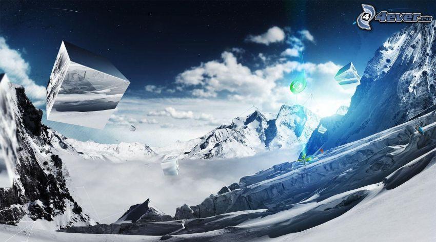 schneebedeckte Berge, Würfel