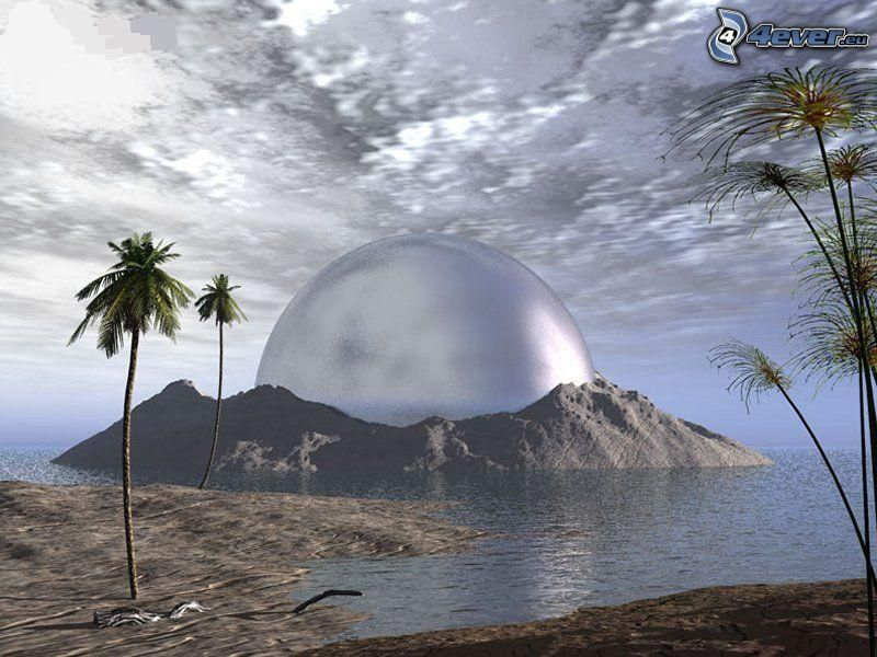 Sci-fi Landschaft, Erde, Meer, Palme, Himmel