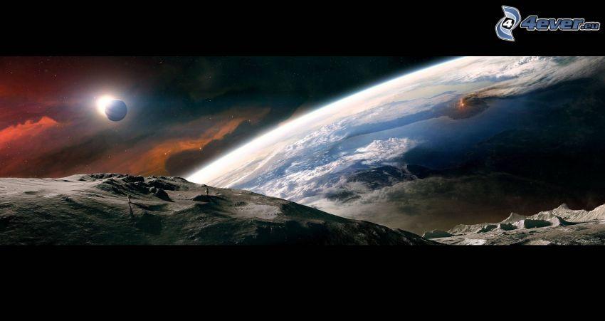 Sci-fi Landschaft, Planet, Sonne