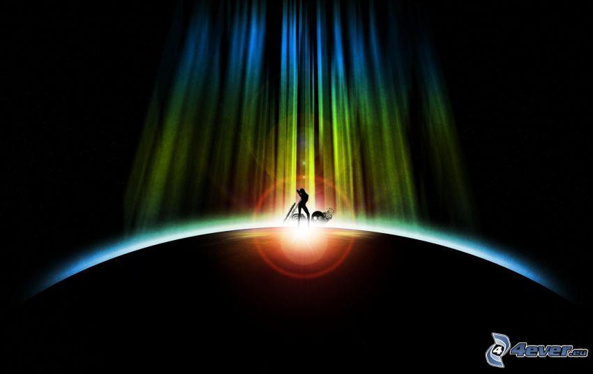 Silhouette der Frau, Erde, Strahlen