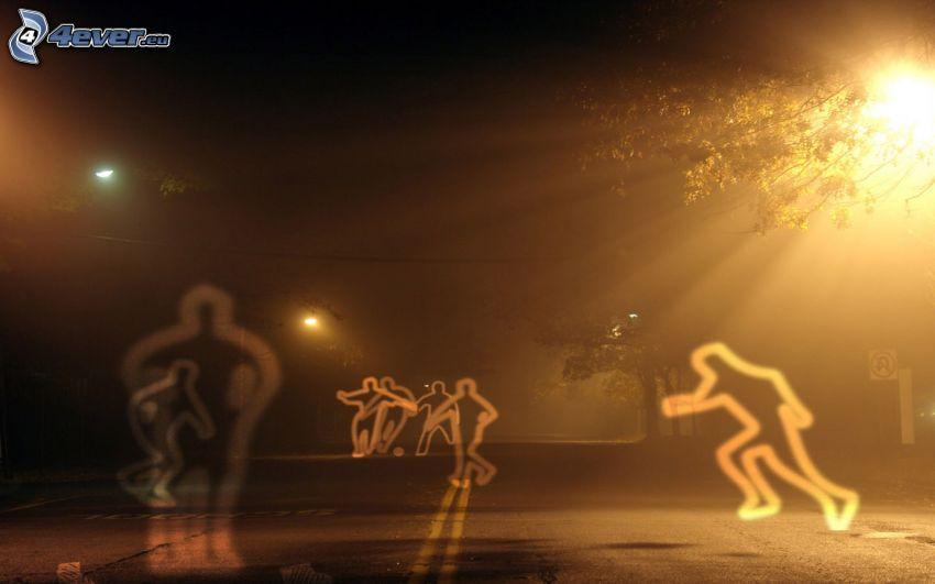 Silhouetten, Fußball, Nacht, Straße