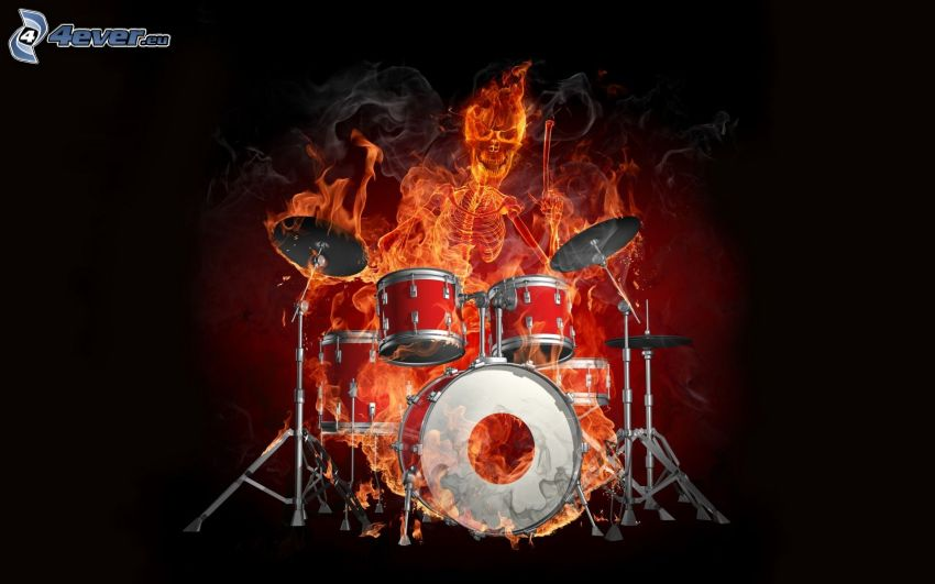 Skelett, Feuer, Drums
