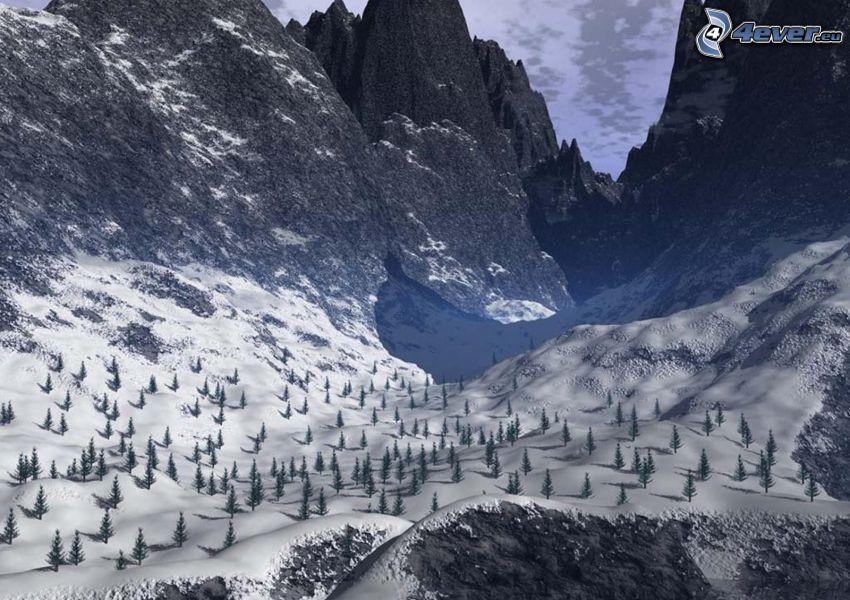 Tal, Hochgebirge, Nadelbäume