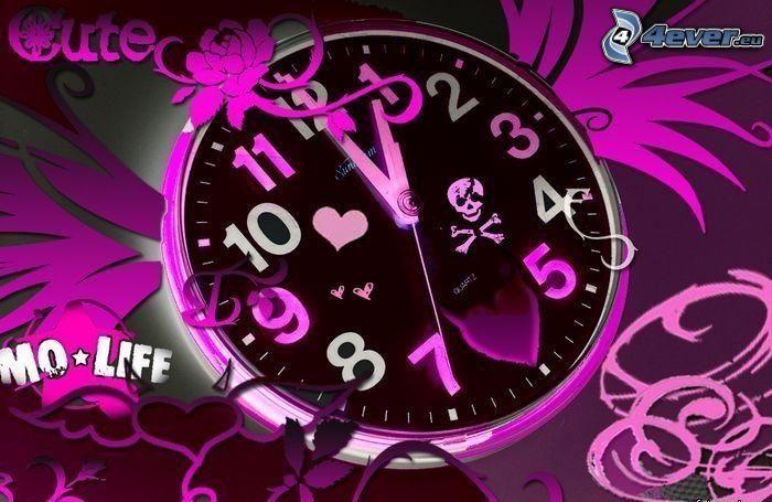 Uhr, Herz, Sensenmann, lila