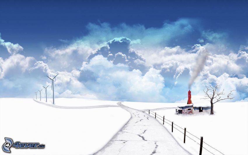 verschneite Landschaft, Wolken, Straße, Windkraftwerke