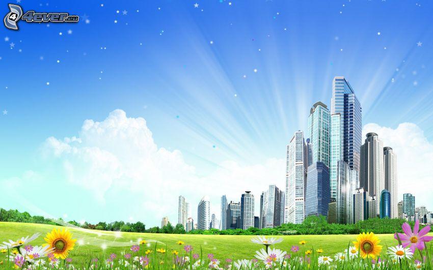 Wolkenkratzer, Wiese, Feldblumen