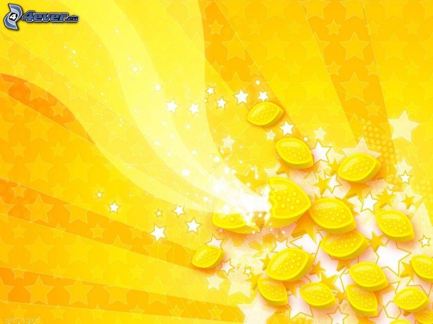 Zitronen, gelbe Linien, gelber Hintergrund