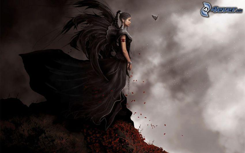 dunkle Frau