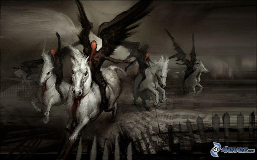 dunkler Engel, weiße Pferde