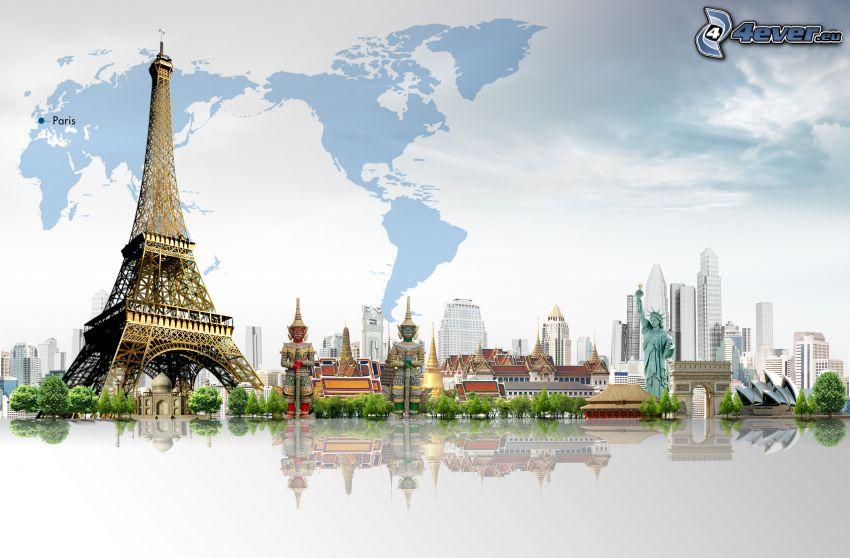 Eiffelturm, Freiheitsstatue, Sydney Opera House, Weltkarte