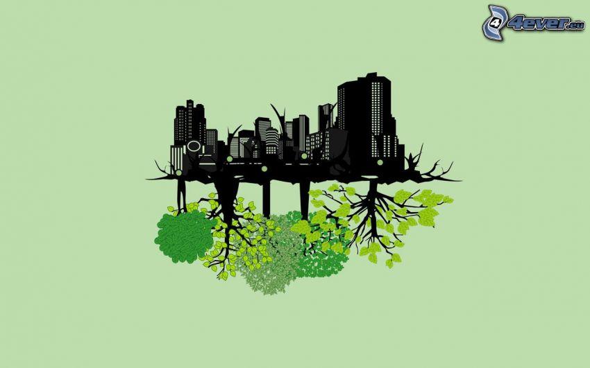 eingezeichnete Stadt, Bäume